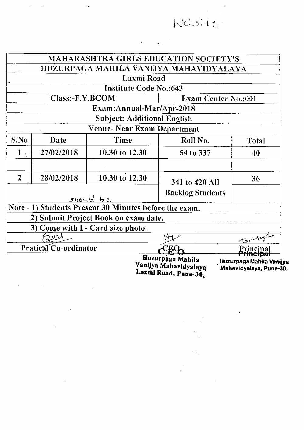 Additional English Practical Schedule