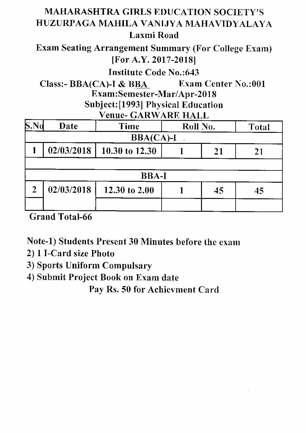 Physical Education Exam Schedule for BBA(CA)-1 & BBA
